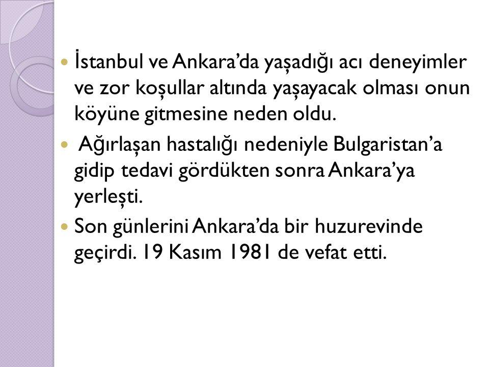 İstanbul ve Ankara'da yaşadığı acı deneyimler ve zor koşullar altında yaşayacak olması onun köyüne gitmesine neden oldu.
