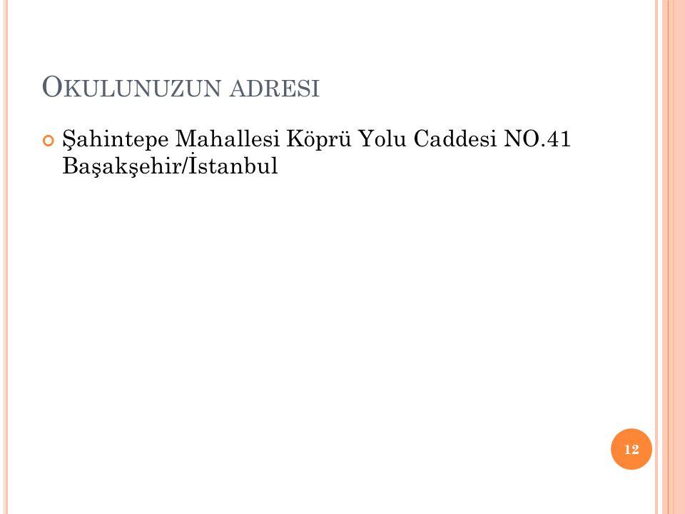 Okulunuzun adresi Şahintepe Mahallesi Köprü Yolu Caddesi NO.41 Başakşehir/İstanbul
