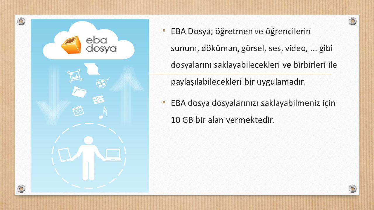 EBA Dosya; öğretmen ve öğrencilerin sunum, döküman, görsel, ses, video, ... gibi dosyalarını saklayabilecekleri ve birbirleri ile paylaşılabilecekleri bir uygulamadır.