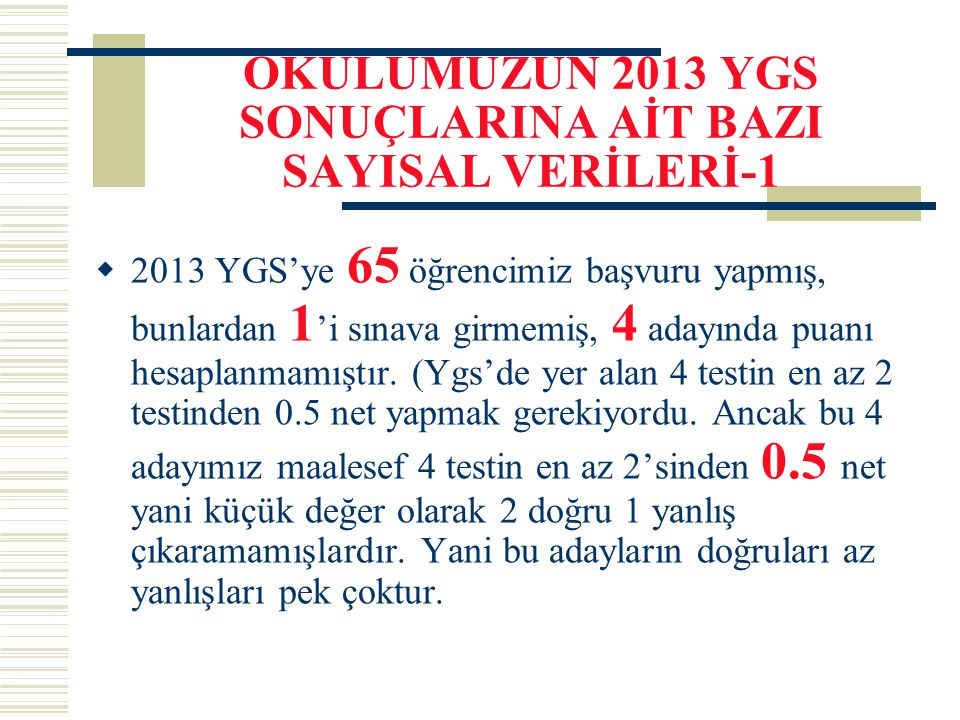 OKULUMUZUN 2013 YGS SONUÇLARINA AİT BAZI SAYISAL VERİLERİ-1
