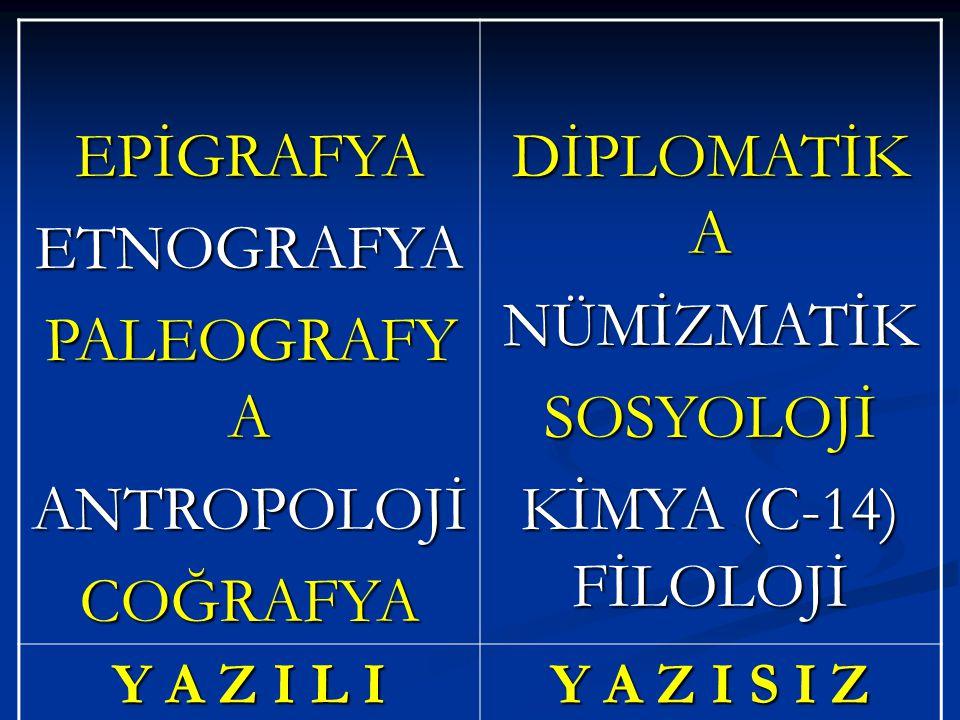 EPİGRAFYA ETNOGRAFYA PALEOGRAFYA ANTROPOLOJİ COĞRAFYA DİPLOMATİKA