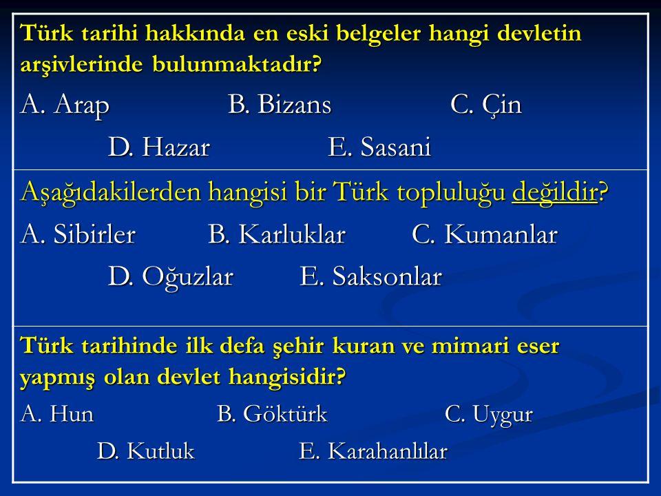 Aşağıdakilerden hangisi bir Türk topluluğu değildir