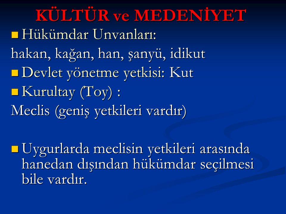 KÜLTÜR ve MEDENİYET Hükümdar Unvanları: