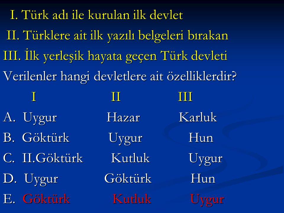 I. Türk adı ile kurulan ilk devlet