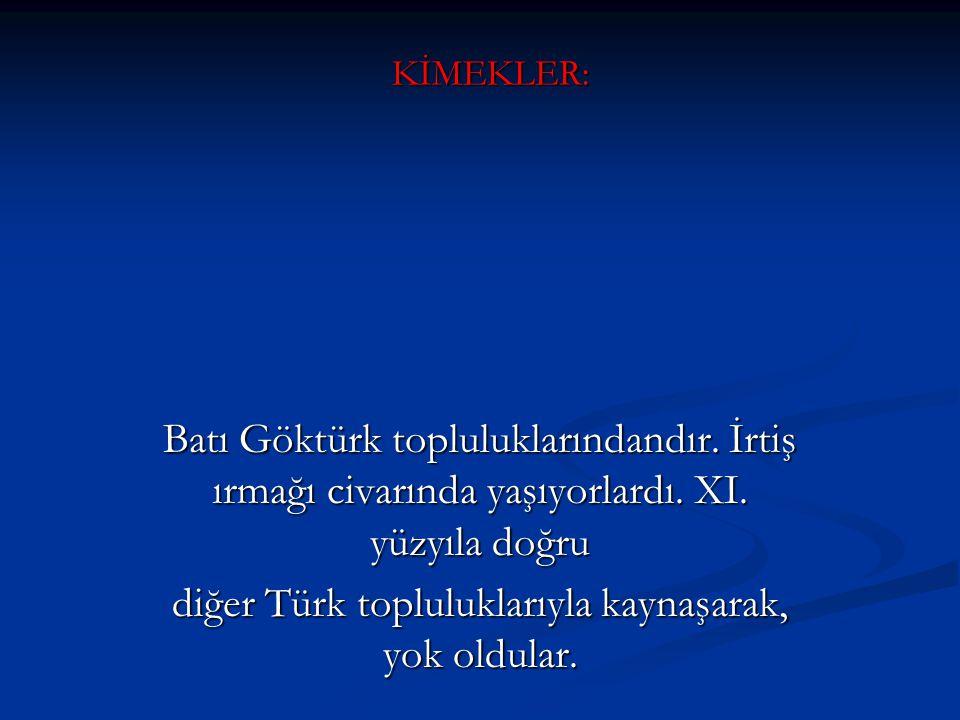 diğer Türk topluluklarıyla kaynaşarak, yok oldular.