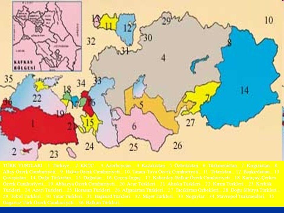 TÜRK YURTLARI : 1. Türkiye. 2. KKTC. 3. Azerbeycan. 4. Kazakistan. 5