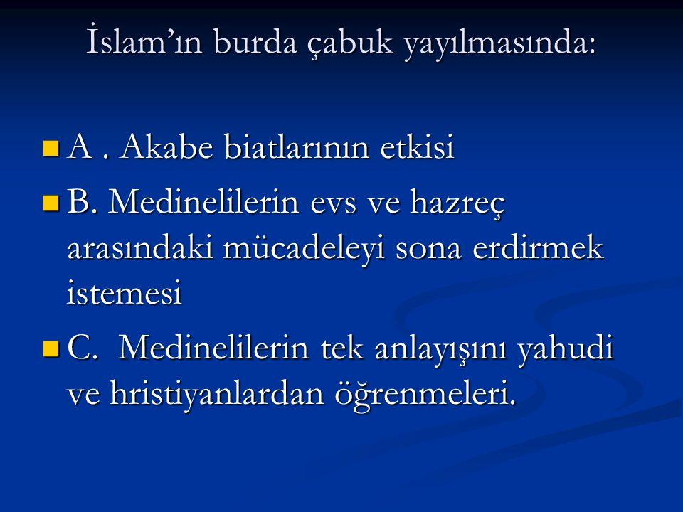 İslam'ın burda çabuk yayılmasında: