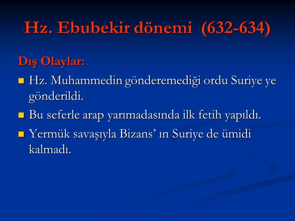 Hz. Ebubekir dönemi (632-634) Dış Olaylar: