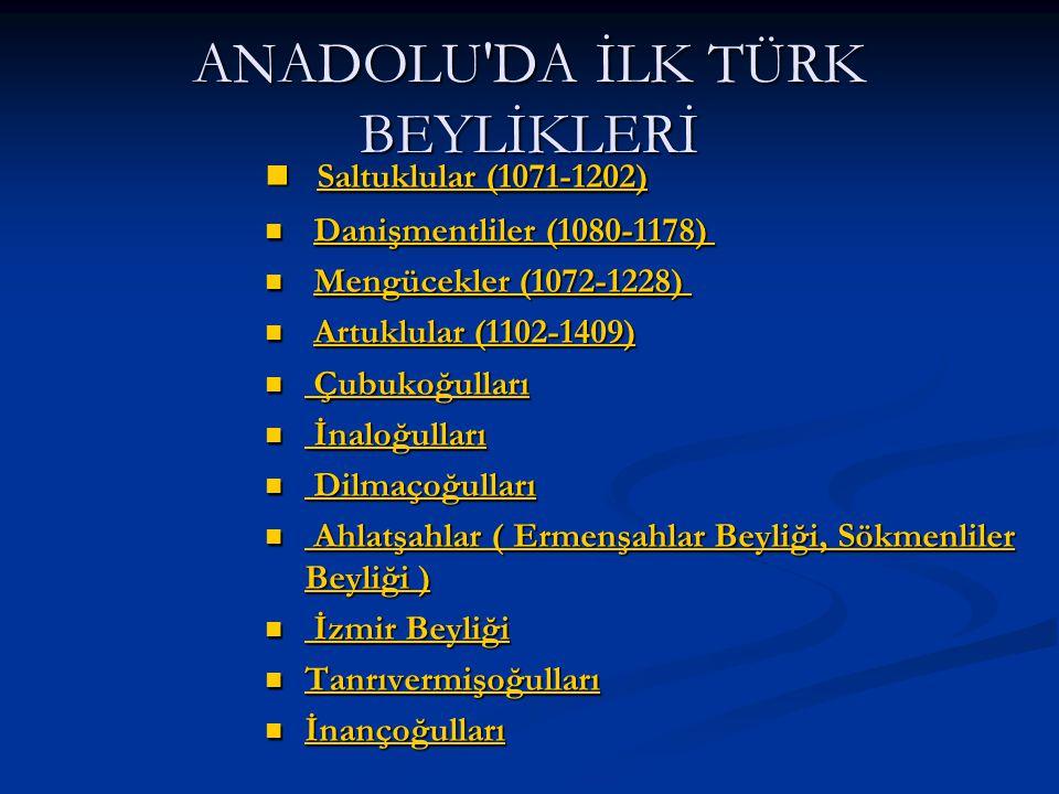 ANADOLU DA İLK TÜRK BEYLİKLERİ