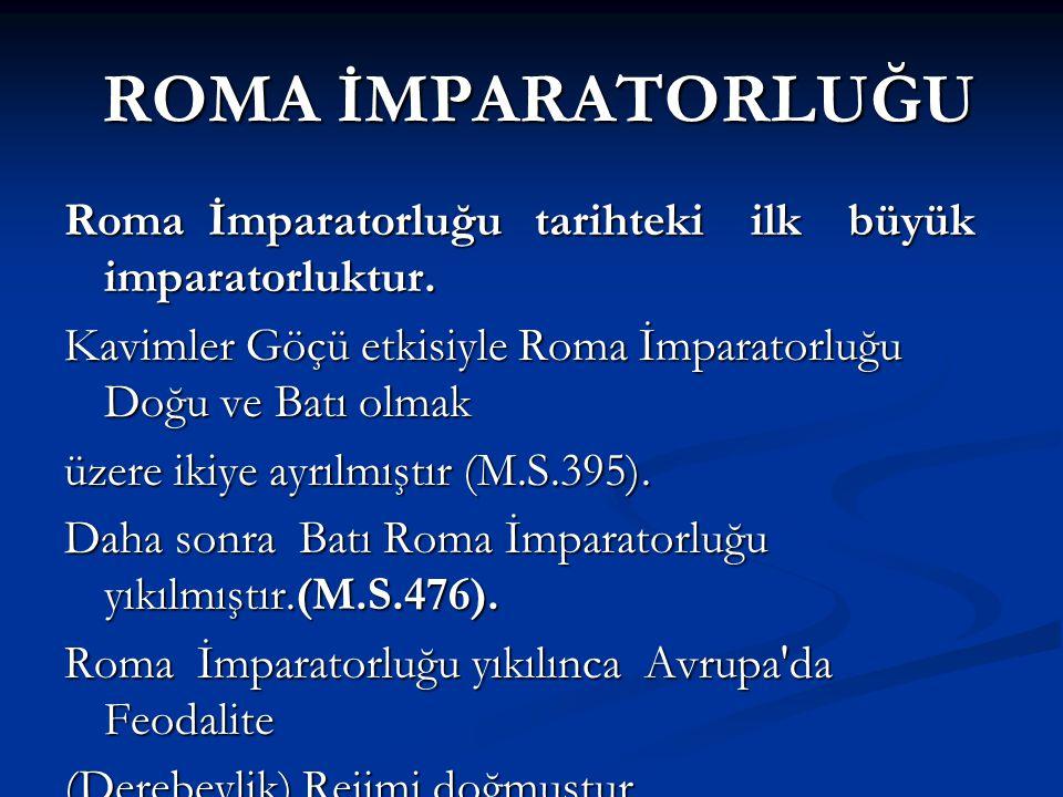 ROMA İMPARATORLUĞU Roma İmparatorluğu tarihteki ilk büyük imparatorluktur. Kavimler Göçü etkisiyle Roma İmparatorluğu Doğu ve Batı olmak.