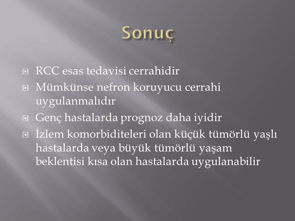 Sonuç RCC esas tedavisi cerrahidir