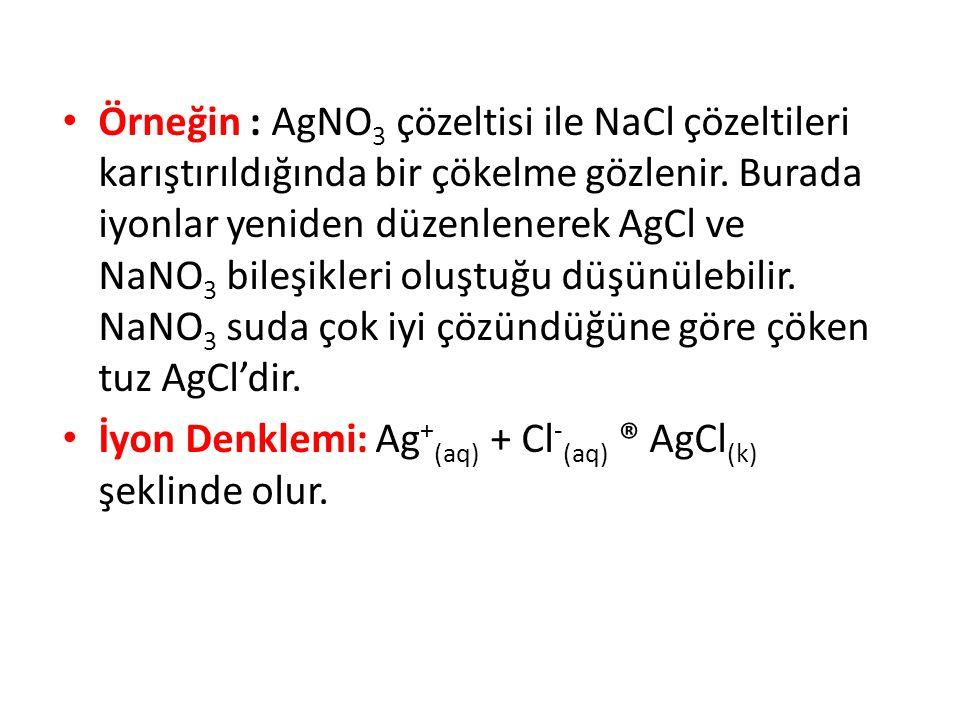 Örneğin : AgNO3 çözeltisi ile NaCl çözeltileri karıştırıldığında bir çökelme gözlenir. Burada iyonlar yeniden düzenlenerek AgCl ve NaNO3 bileşikleri oluştuğu düşünülebilir. NaNO3 suda çok iyi çözündüğüne göre çöken tuz AgCl'dir.