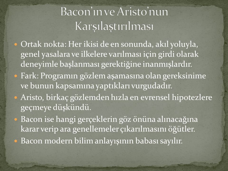 Bacon'ın ve Aristo'nun Karşılaştırılması