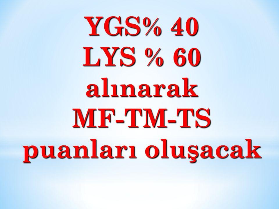 YGS% 40 LYS % 60 alınarak MF-TM-TS puanları oluşacak