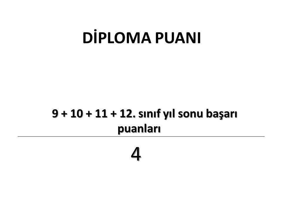 9 + 10 + 11 + 12. sınıf yıl sonu başarı puanları