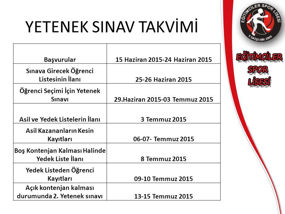 YETENEK SINAV TAKVİMİ Başvurular 15 Haziran 2015-24 Haziran 2015