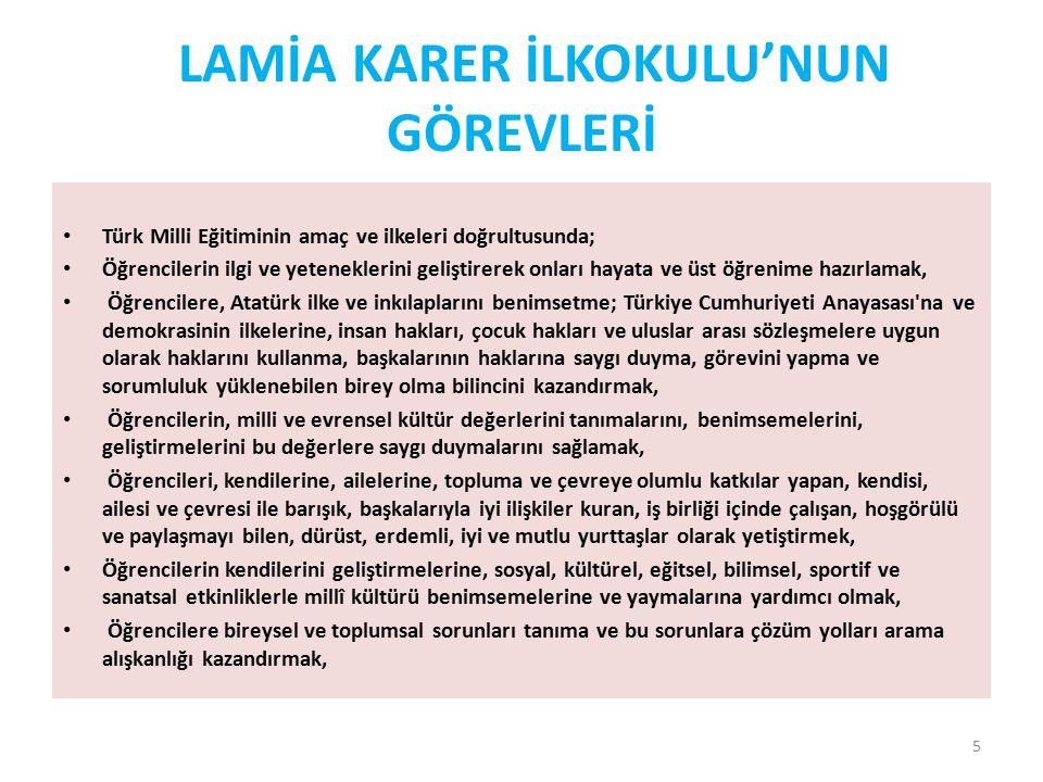 LAMİA KARER İLKOKULU'NUN GÖREVLERİ
