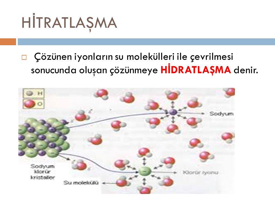 HİTRATLAŞMA Çözünen iyonların su molekülleri ile çevrilmesi sonucunda oluşan çözünmeye HİDRATLAŞMA denir.