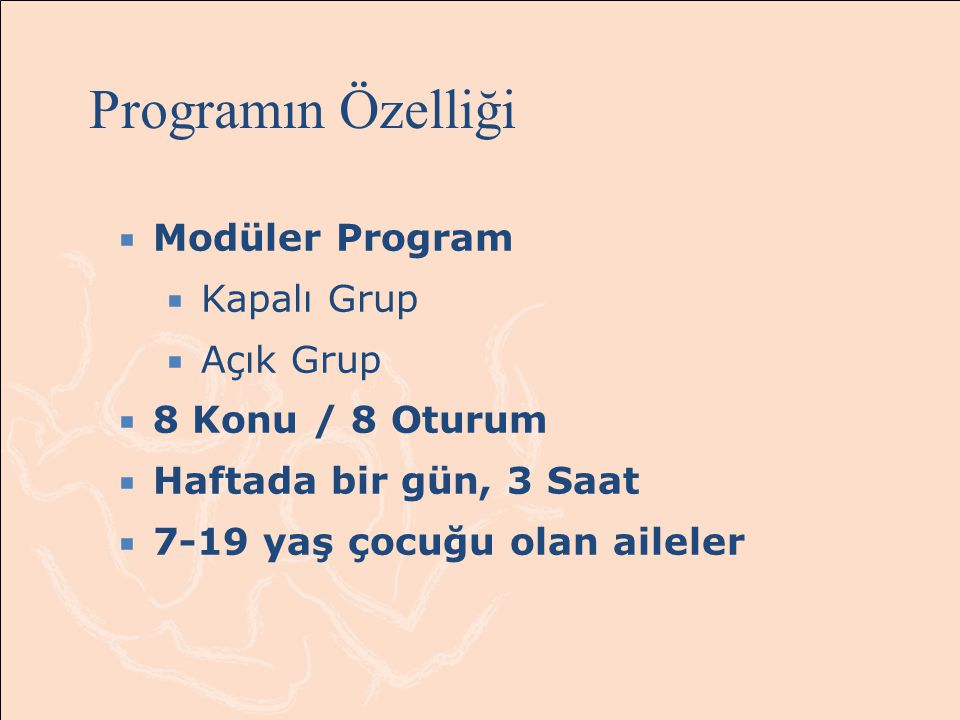 Programın Özelliği Modüler Program Kapalı Grup Açık Grup
