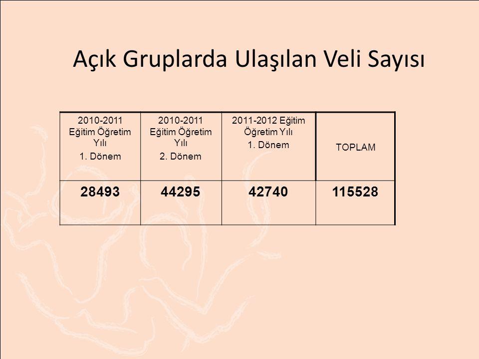 Açık Gruplarda Ulaşılan Veli Sayısı