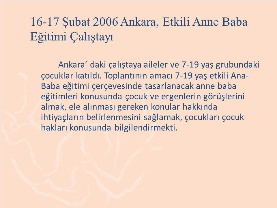 16-17 Şubat 2006 Ankara, Etkili Anne Baba Eğitimi Çalıştayı