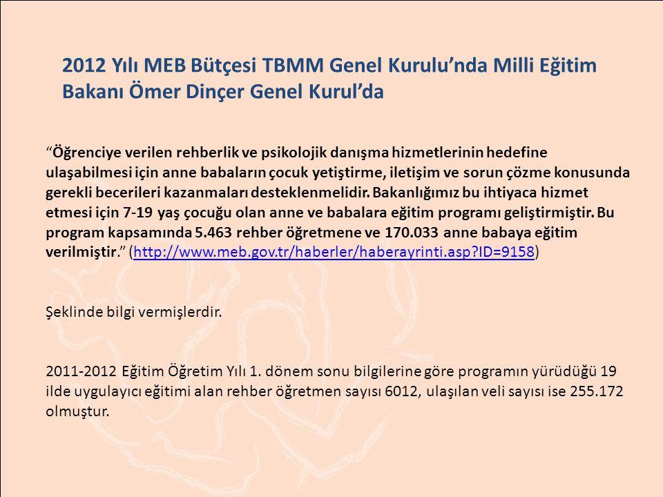 2012 Yılı MEB Bütçesi TBMM Genel Kurulu'nda Milli Eğitim Bakanı Ömer Dinçer Genel Kurul'da