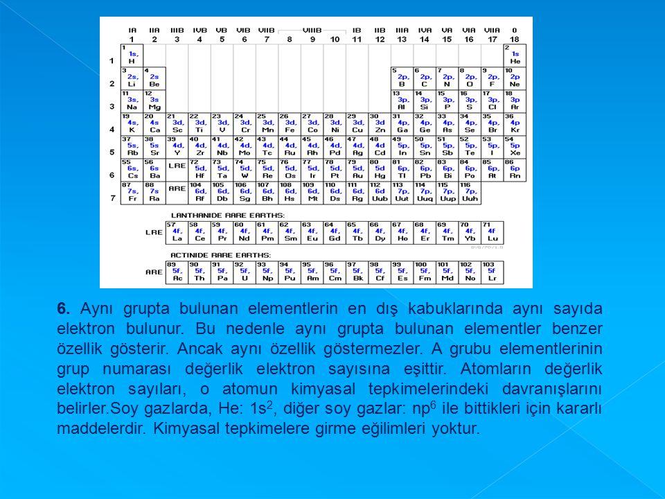 6. Aynı grupta bulunan elementlerin en dış kabuklarında aynı sayıda elektron bulunur. Bu nedenle aynı grupta bulunan elementler benzer özellik gösterir. Ancak aynı özellik göstermezler. A grubu elementlerinin grup numarası değerlik elektron sayısına eşittir. Atomların değerlik elektron sayıları, o atomun kimyasal tepkimelerindeki davranışlarını belirler.Soy gazlarda, He: 1s2, diğer soy gazlar: np6 ile bittikleri için kararlı maddelerdir. Kimyasal tepkimelere girme eğilimleri yoktur.