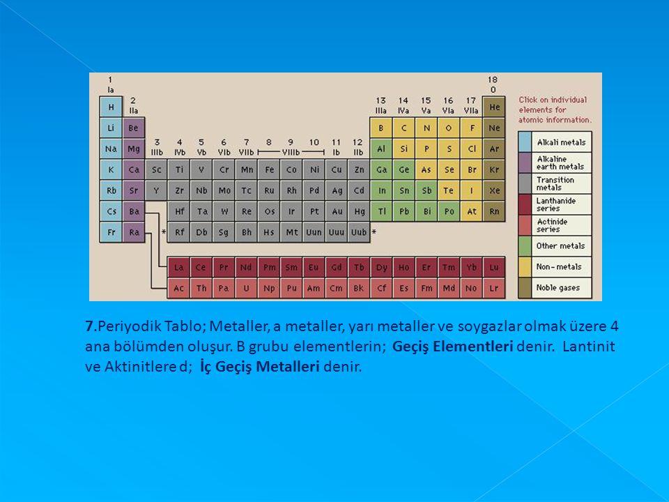 7.Periyodik Tablo; Metaller, a metaller, yarı metaller ve soygazlar olmak üzere 4 ana bölümden oluşur. B grubu elementlerin; Geçiş Elementleri denir. Lantinit ve Aktinitlere d; İç Geçiş Metalleri denir.