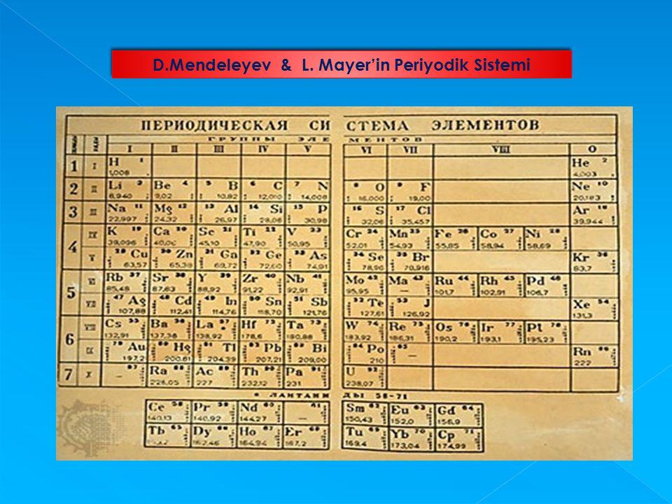 D.Mendeleyev & L. Mayer'in Periyodik Sistemi