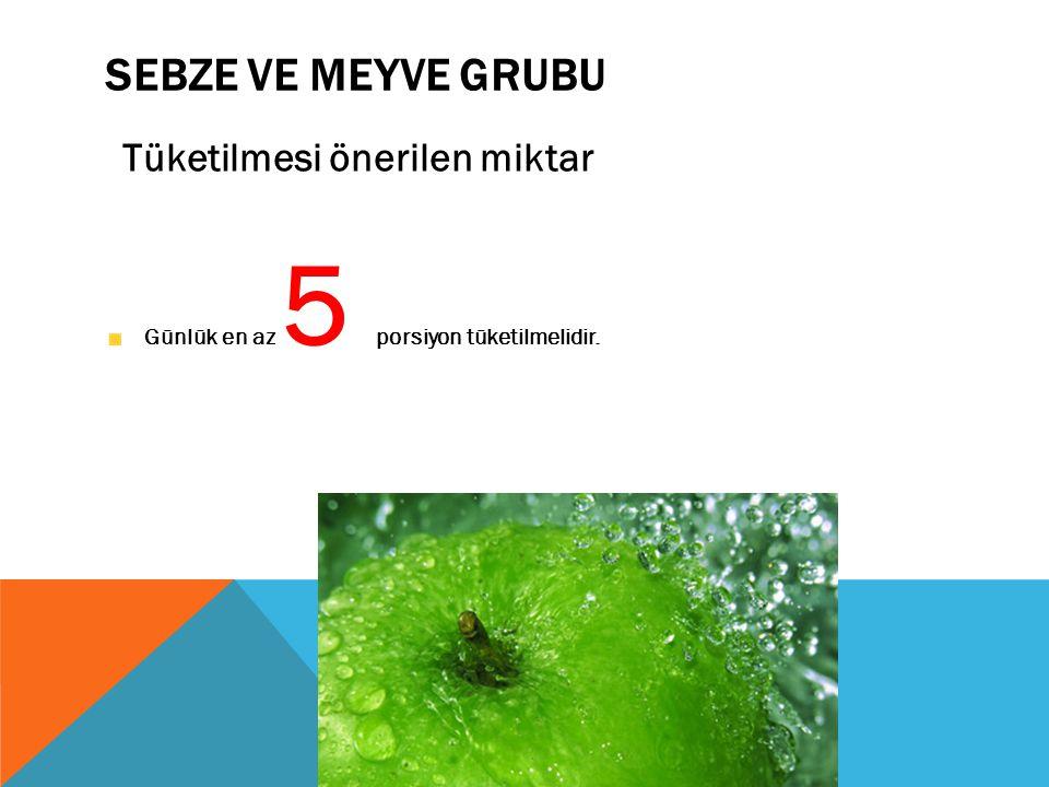 Sebze ve Meyve Grubu Tüketilmesi önerilen miktar