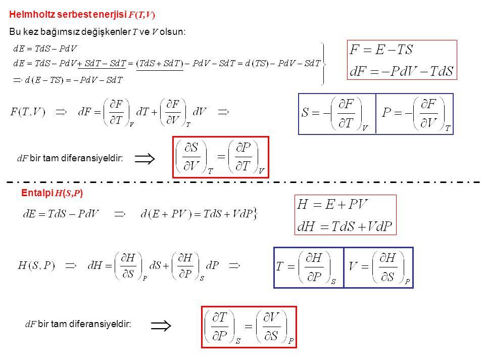   Helmholtz serbest enerjisi F(T,V)