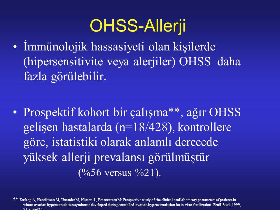 OHSS-Allerji İmmünolojik hassasiyeti olan kişilerde (hipersensitivite veya alerjiler) OHSS daha fazla görülebilir.