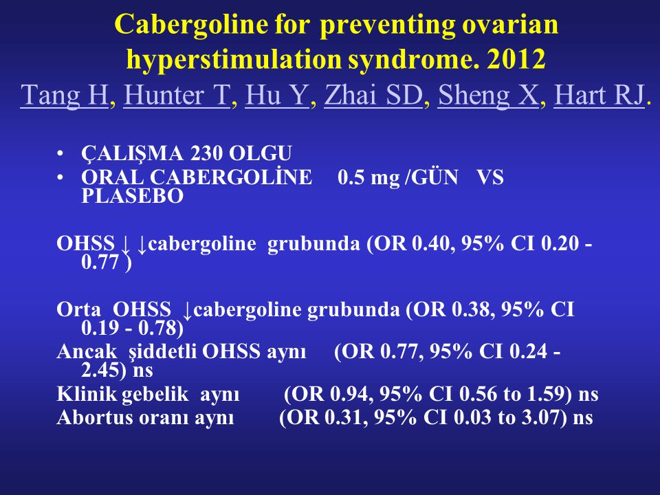 Cabergoline for preventing ovarian hyperstimulation syndrome