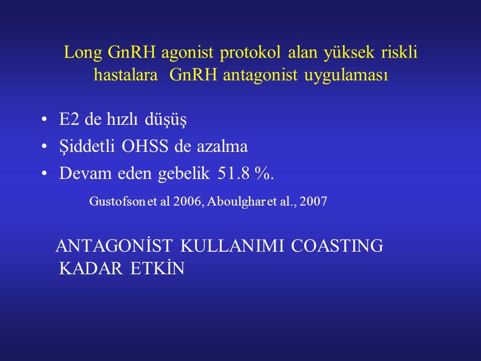 Long GnRH agonist protokol alan yüksek riskli hastalara GnRH antagonist uygulaması