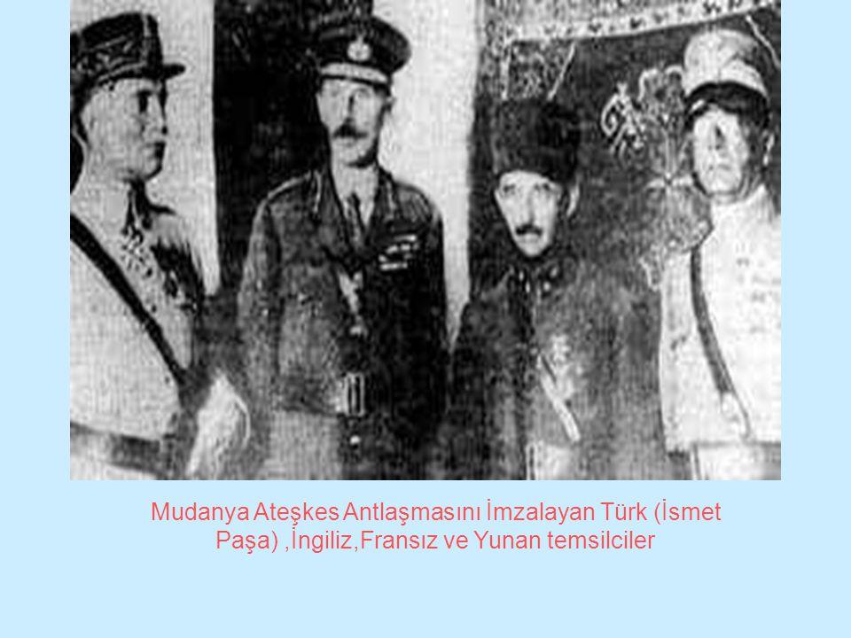 Mudanya Ateşkes Antlaşmasını İmzalayan Türk (İsmet Paşa) ,İngiliz,Fransız ve Yunan temsilciler