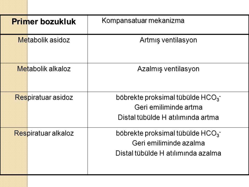 Primer bozukluk Kompansatuar mekanizma Metabolik asidoz