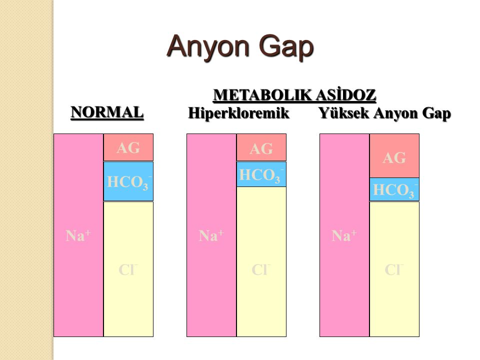 Anyon Gap METABOLIK ASİDOZ NORMAL Hiperkloremik Yüksek Anyon Gap AG AG