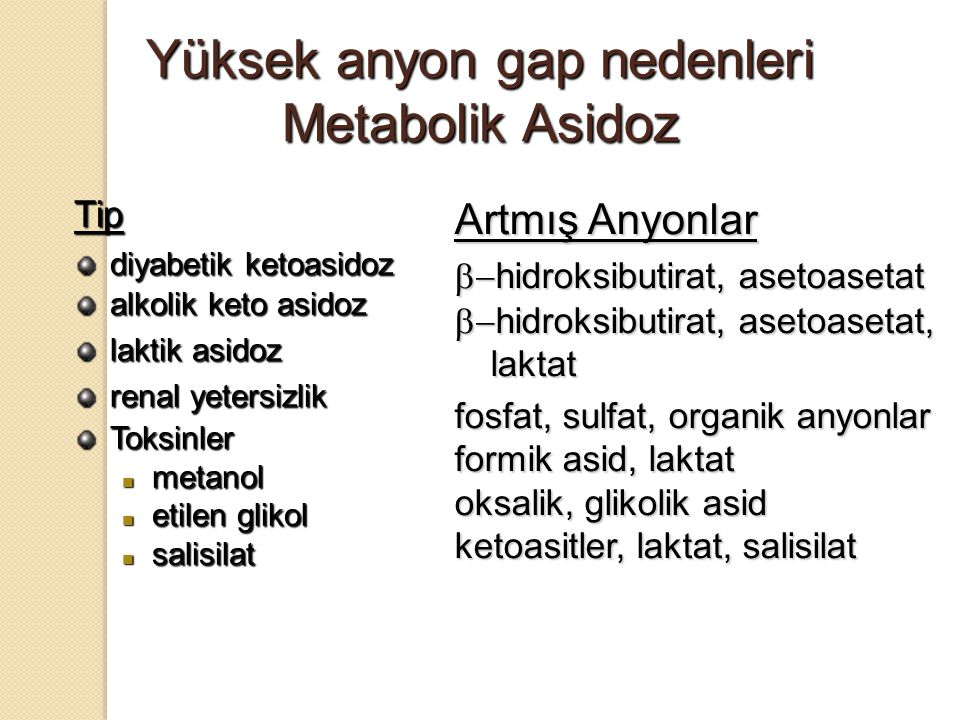 Yüksek anyon gap nedenleri Metabolik Asidoz