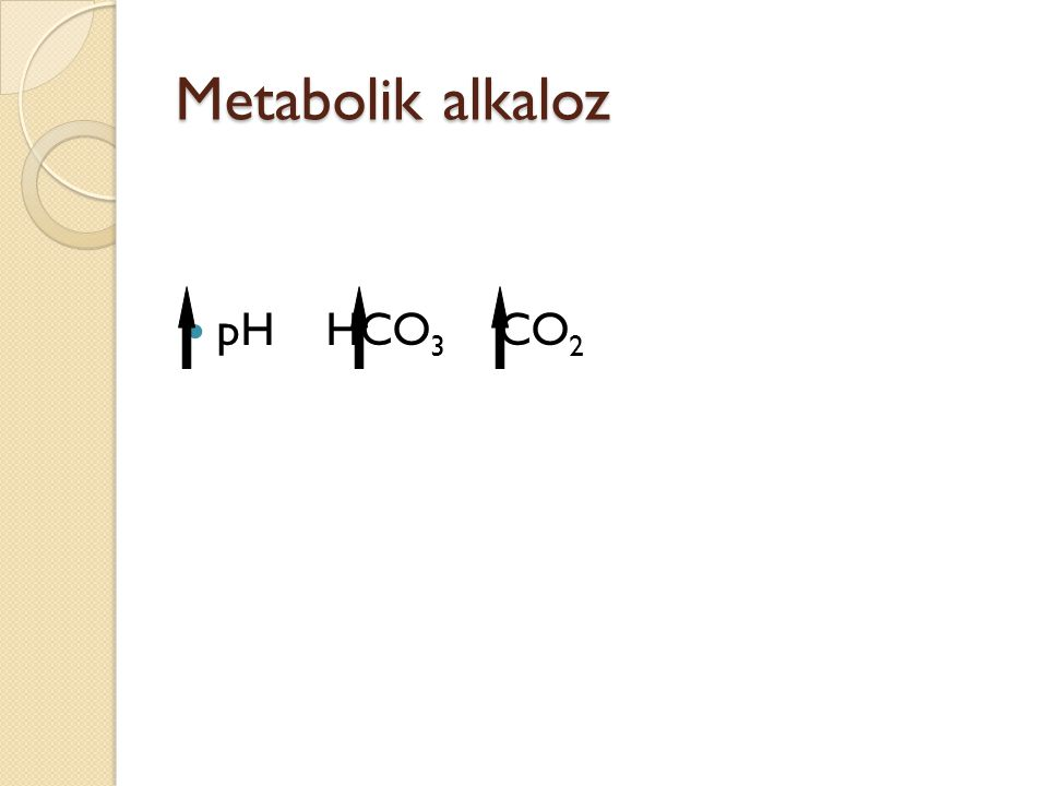 Metabolik alkaloz pH HCO3 CO2