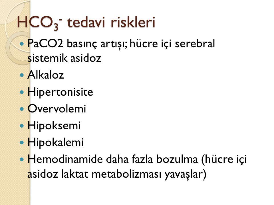 HCO3- tedavi riskleri PaCO2 basınç artışı; hücre içi serebral sistemik asidoz. Alkaloz. Hipertonisite.