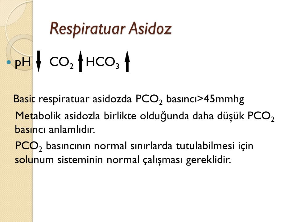 Respiratuar Asidoz pH CO2 HCO3