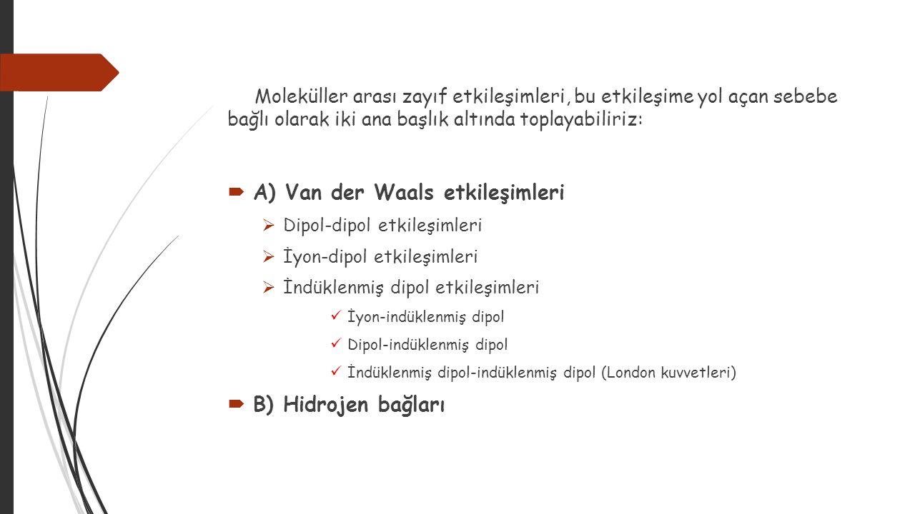 A) Van der Waals etkileşimleri