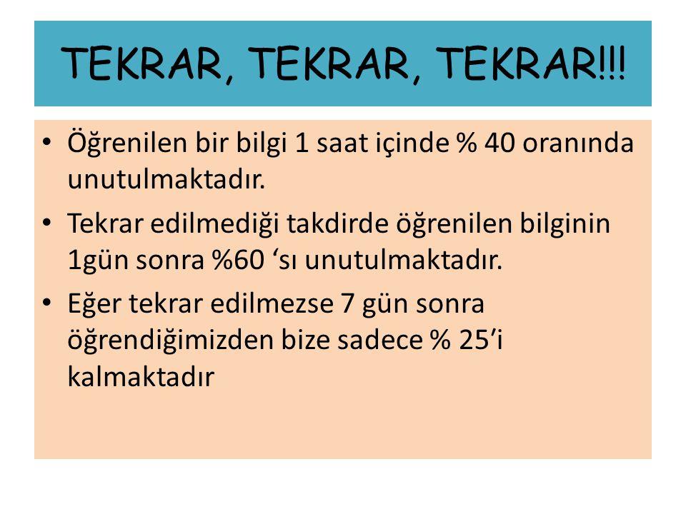 TEKRAR, TEKRAR, TEKRAR!!! Öğrenilen bir bilgi 1 saat içinde % 40 oranında unutulmaktadır.