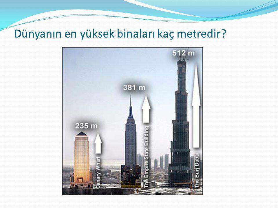 Dünyanın en yüksek binaları kaç metredir