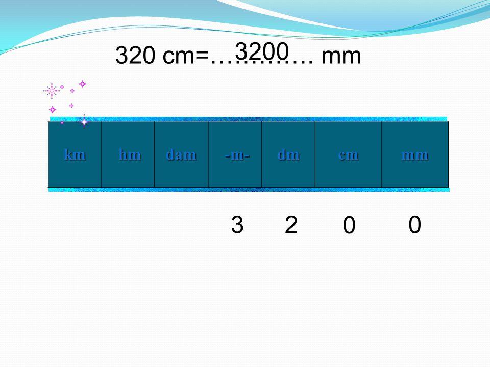 3200 320 cm=…………. mm km hm dam -m- dm cm mm 3 2
