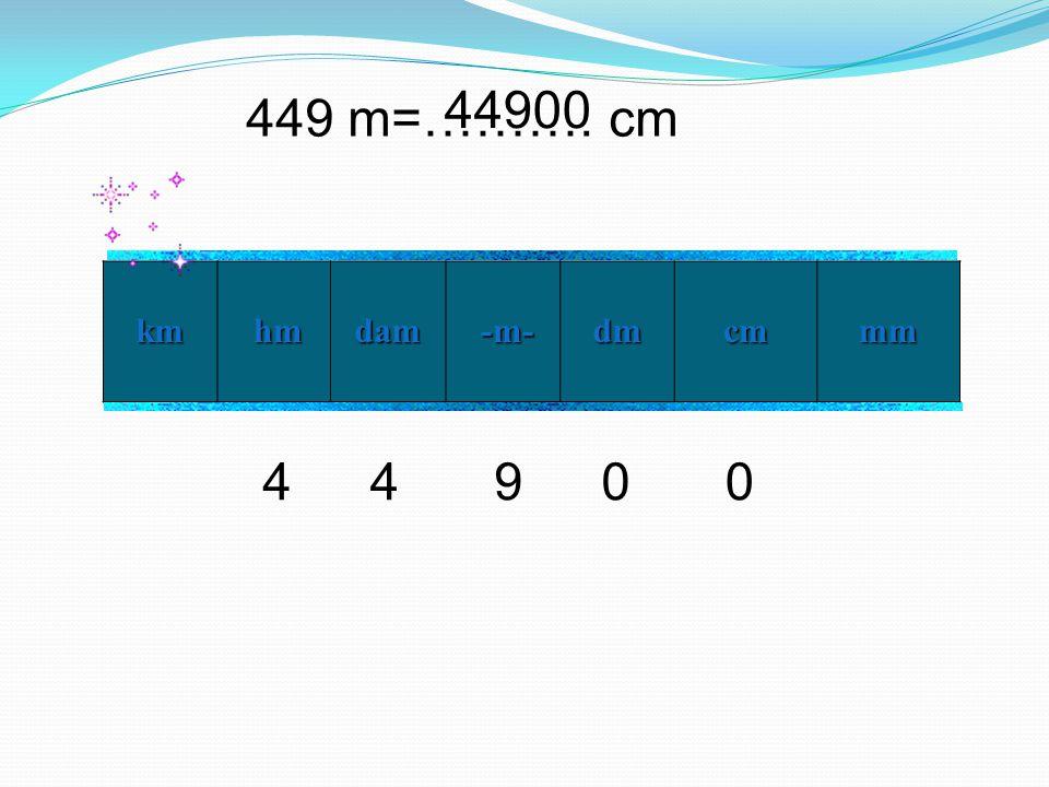 44900 449 m=………. cm km hm dam -m- dm cm mm 4 4 9