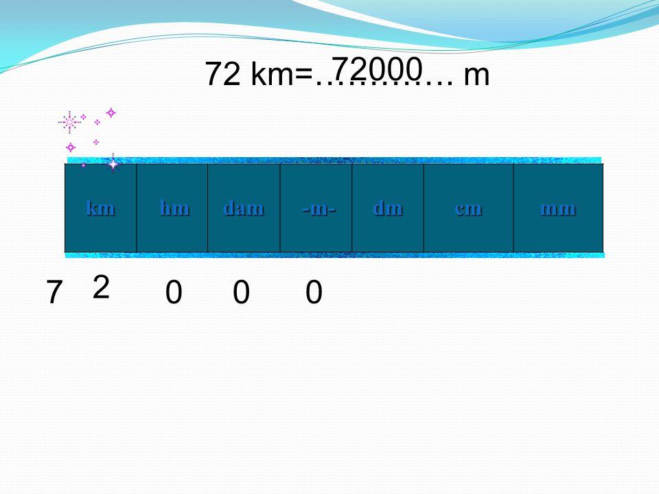 72000 72 km=…………. m km hm dam -m- dm cm mm 2 7