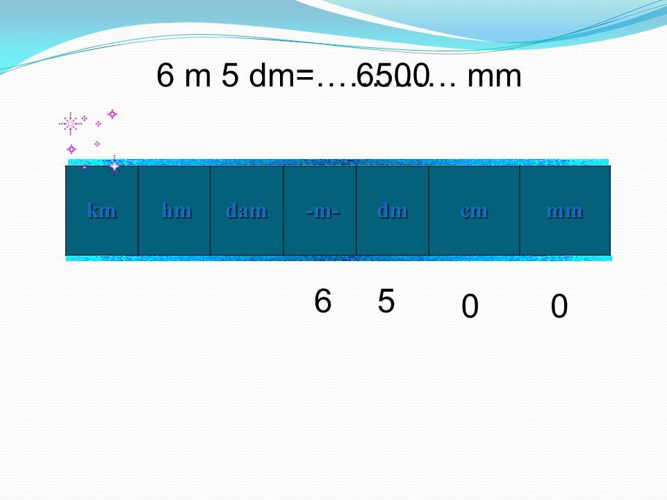 6 m 5 dm=…………. mm 6500 km hm dam -m- dm cm mm 6 5