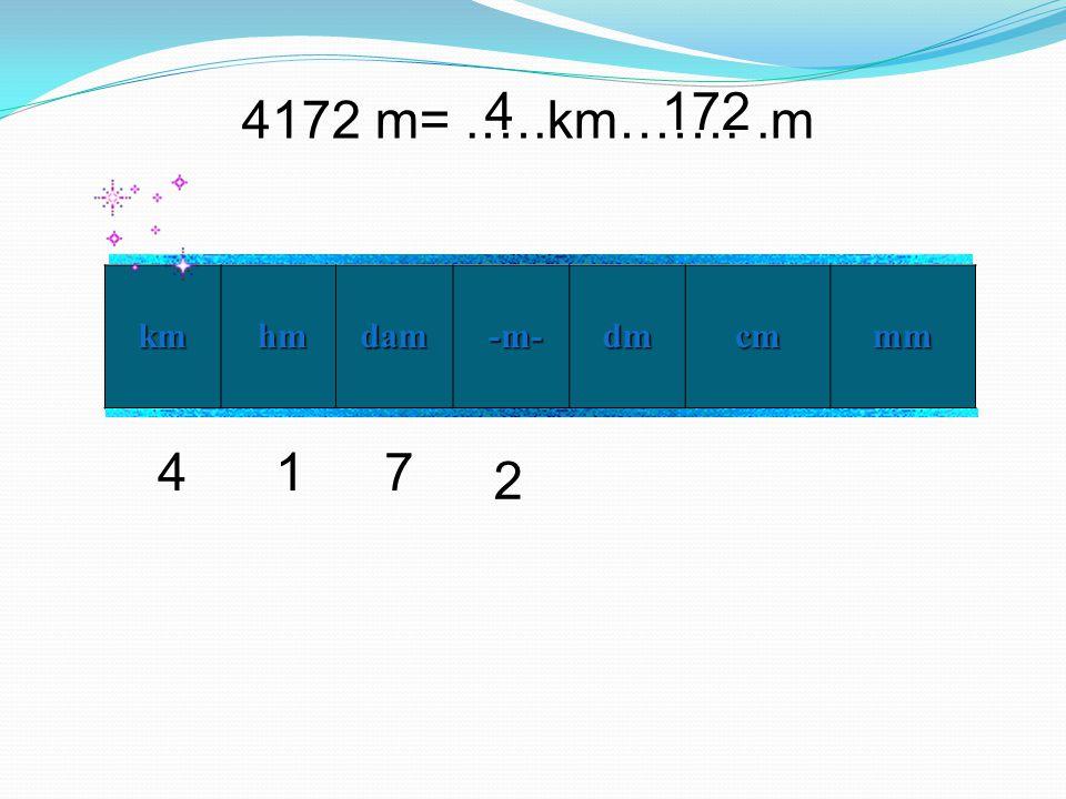 4 172 4172 m= .….km……. .m km hm dam -m- dm cm mm 4 1 7 2