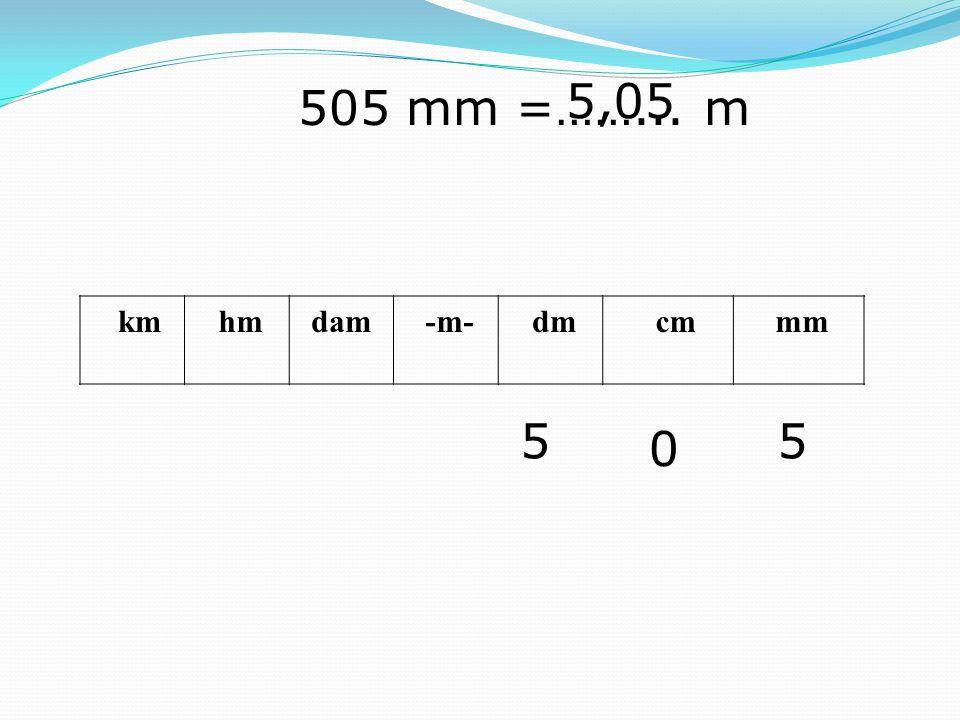 5,05 505 mm =……... m km hm dam -m- dm cm mm 5 5